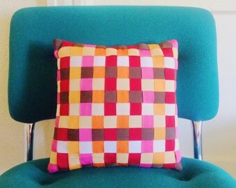 Vintage Orange, Pink & Red Woven Ribbon Accent Pillow