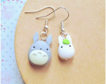 Miyazaki Ghibli Totoro earrings ~ Cute Kawaii Earrings Polymer Clay Fimo tonarinototoro My Neighbor Totoro my Neighbor Totoro Fan Art