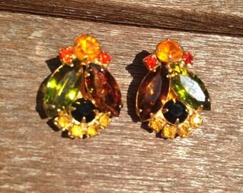 Juliana D&E Multicolored Autumn Flower Earrings