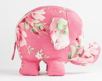 Baby Elephant Toys in Pink Roses, Plush Baby Toy, Stuffed Pincushion, Animal Pincushion, Home decoration