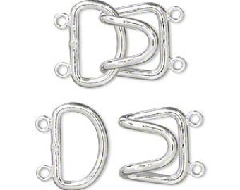 Silver Clasp, 2-strand hook clasp, silver-plated brass, 23x15mm, 2 each, D303