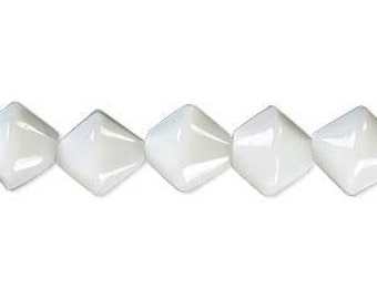 White beads, Glass Beads, white glass beads, 10mm bicone bead, 12 inch strand, D578