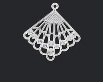Silver chandelier, thin silver fan, Fan Charm, 28x27mm, 6 each, D376