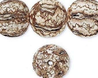 Mahogany Tree Seed Bead, Natural Mahogany, Organic, Rustic, Primitive, Unique, 20mm Round, 4 each, D679