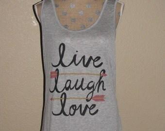 Plus Size Live Laugh Love Women's Tank-Gray