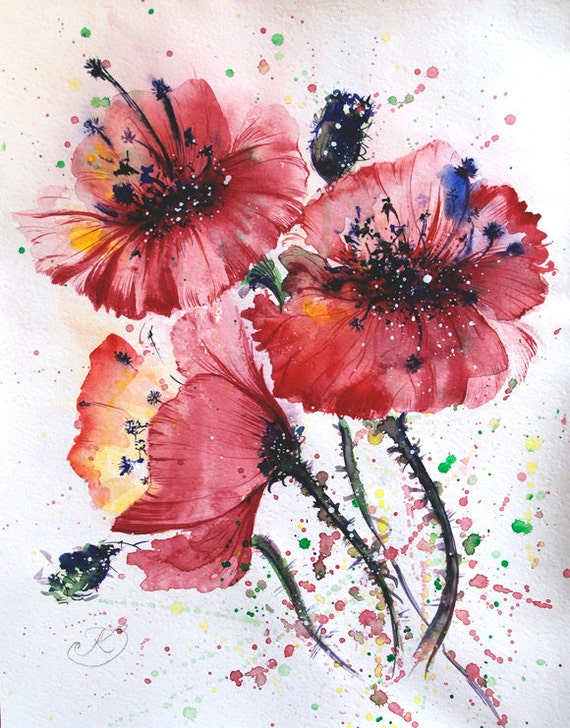 Original Watercolor painting Poppies painting California poppy