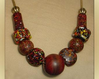 Venetian Crumb Glass Bead Necklace