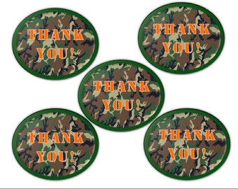 Military or Hunting Camo Thank You Printable Tags (INSTANT Download)
