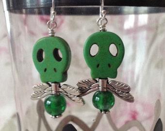 Green Shadow Skullfly Earrings