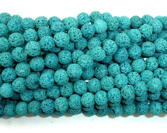 Blue Lava Beads, Round, Approx 7mm, 15.5 Inch, Full strand, Approx 54 beads, Hole 1 mm (300054002)