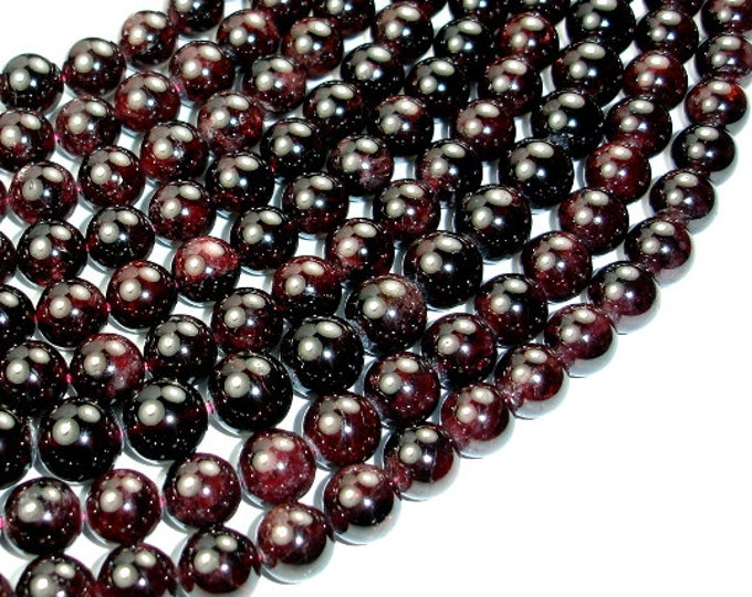 Red Garnet Beads, Round, 11mm, 15.5 Inch, Full strand, Approx 35-37 beads, Hole 1 mm (370054012)