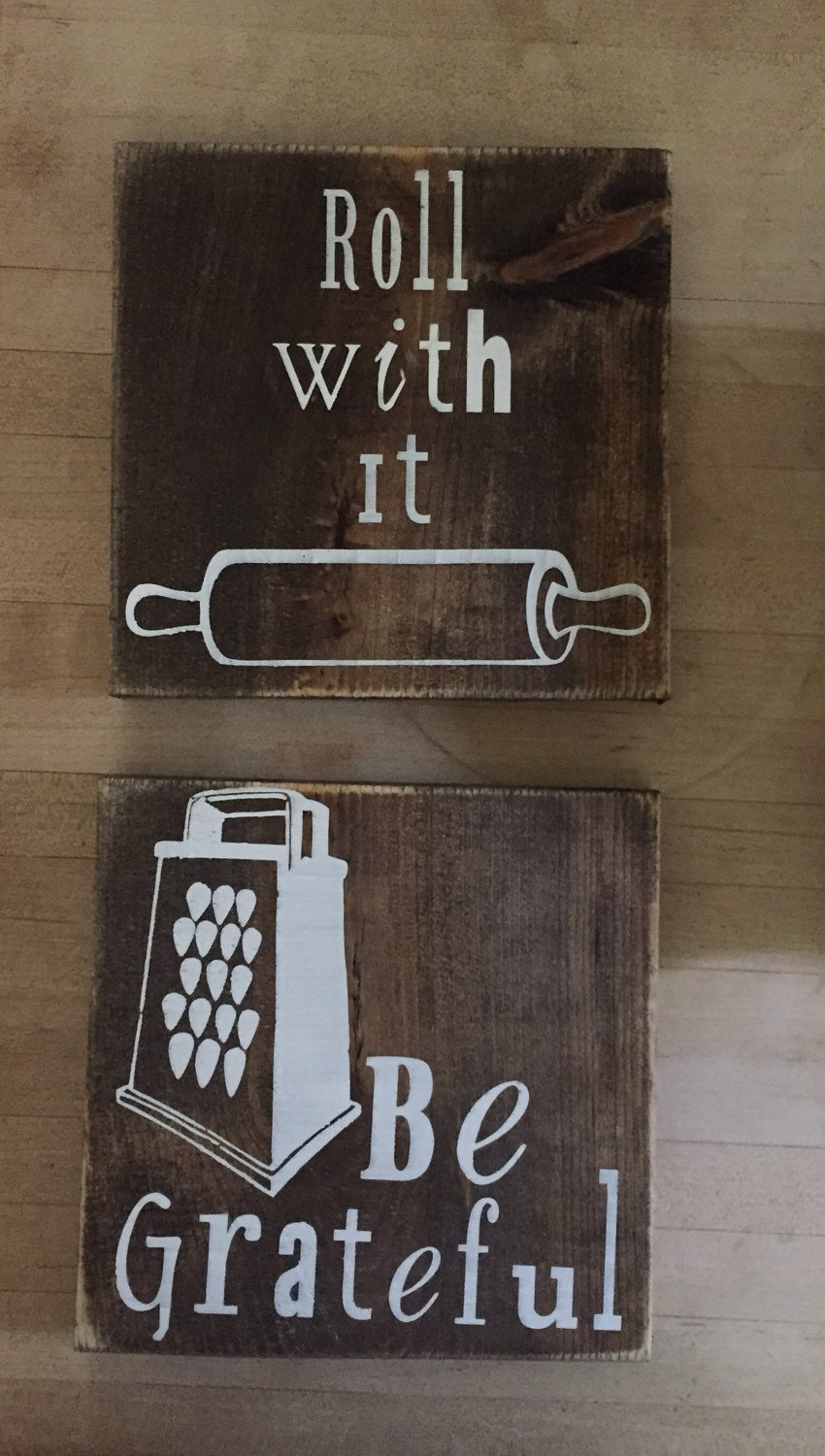 Wooden Kitchen Sign Kitchen Decor Be Grateful Roll With