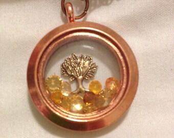 Autumn Fall Tree Copper Brass Floating Charm Memory Locket