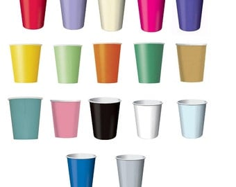 AWESOME VALUE CUPS - 24, 56 and 84 Packs of 9oz Paper Cups in a choice of 17 Stunning Colours