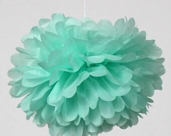 Set of 5 Mint GreenTissue Paper Flower Pom Poms Wedding Birthday Party Girls Room Nursery Fluffy Decoration
