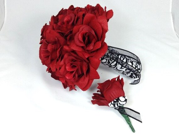 red roses bridal bouquet grooms boutonniere  pc bouquet, Natural flower