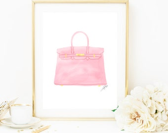 Fashion Painting, Fashion Print, Hermes Birkin Bag, Pink Birkin, Birkin Bag Print, Hermes Print, Purse Print, Purse Art Bag Print