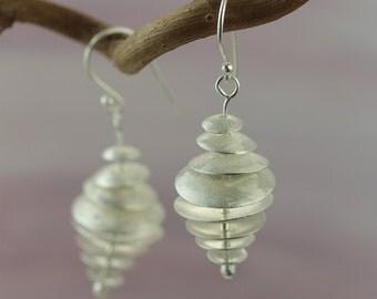 Sterling Silver Drop Earrings with Satin Finish / Dangle Earrings / Handmade Jewellery