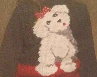 Girls Doggy Motif Jumper Knitting Pattern