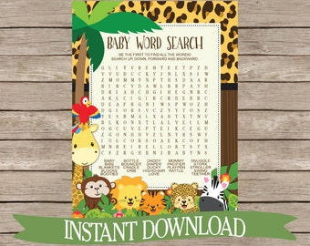 Safari Baby Shower Game Word Search - Jungle Animals, Zoo Animals, Monkey, Giraffe Cute Activity, Neutral Printable Download B132