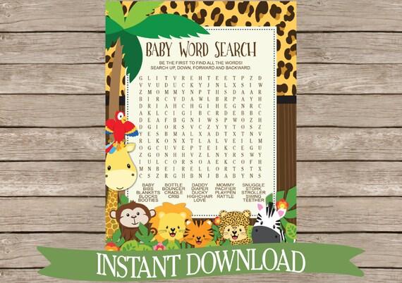 Safari Baby Shower Game Word Search Jungle Animals Zoo
