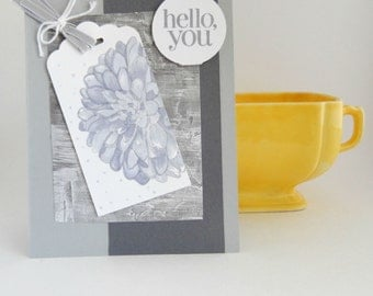 Handmade Thinkin of You Card, Hello Card, Floral, Gray and Rustic