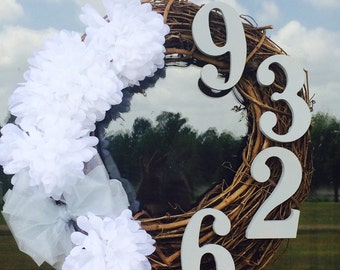 Flowers, Bows, Address numbers on a Grapevine Wreath!
