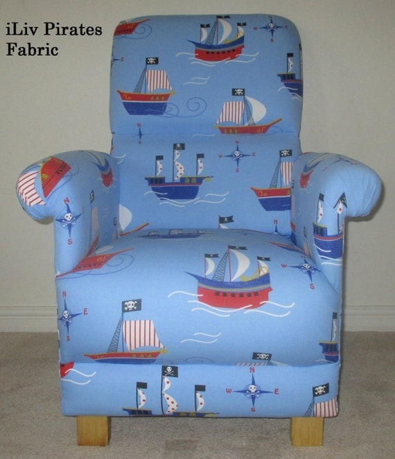 Pirates life for me iliv fabric adult chair nursery blue ships for Nursery fabric uk