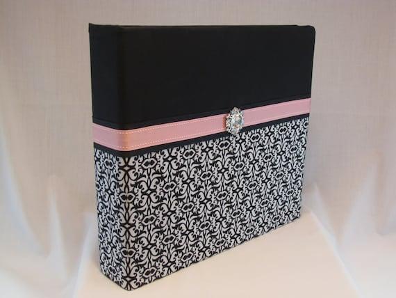 12x12 Postbound Fabric Scrapbook Photo Album Memory Book Handmade Wedding Guest Book Bride Groom Bridal Shower Pink AO84 Album Outfitters