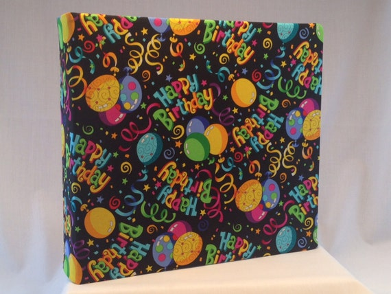 12x12 Postbound Fabric Scrapbook Photo Album Memory Book Handmade Happy Birthday Celebration Party Hat Balloons AO60 Album Outfitters