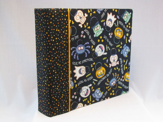 12x12 Postbound Fabric Scrapbook Photo Album Memory Book Handmade Groom Halloween Ghost Mummy Trick or Treat Candy AO30 Album Outfitters