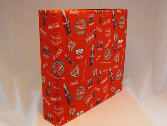 12x12 Postbound Fabric Scrapbook Photo Album Memory Book Handmade Coke Coca Cola Red Soda Pop Nostalgia USA AO50 Album Outfitters