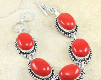 "Hot Red Coral Bracelet Size 8 1/2"""