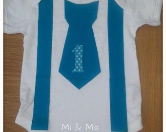 Boys blue tie and suspender vest/onesie, Cake smash, child Photography Prop, 1st Birthday tie onesie, boys outfit, bodysuit, wedding onesie