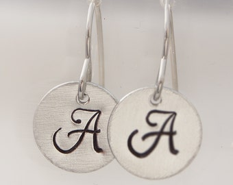 Earrings - A Pair of Personalised Hand-stamped Initial Earrings - polished aluminium - Monogrammed discs