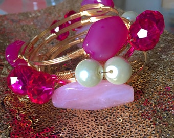 Agate, Crystal and Pearl Bauble Bangles, Bourbon and Bowties Inspired, Wire Wrapped Bangles, Personalized Gifts