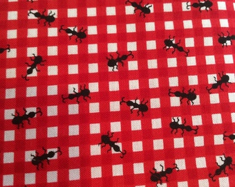 Timeless Treasures Fabric - Red Check with Ants - One Yard Cut - red, white, red check, gingham, ants, black, picnic, watermelon.