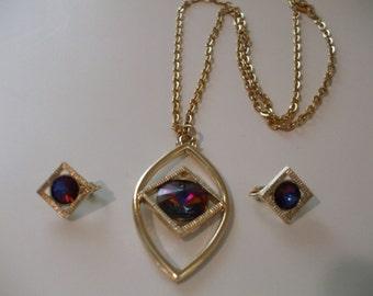 Vintage Sarah Coventry Volcano Rainbow Rivoli Rhinestone Necklace and Earrings Set New Never Worn