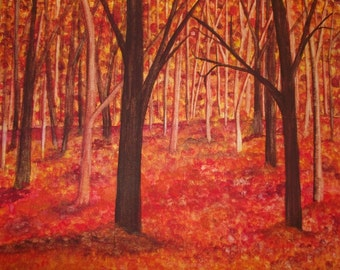 Autumn Forest , Watercolor Painting