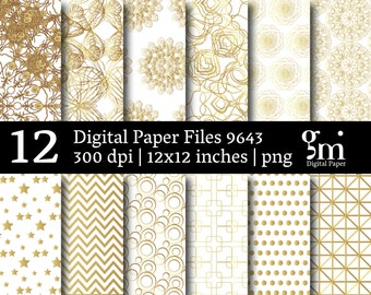 White & Gold Digital Scrapbooking Paper, White and Gold Digital Paper, Gold Digital Scrapbooking, Gold Digital Paper, Gold Foil Digital