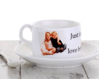 Personalised Cup with Saucer and Spoon