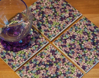 Ceramic coasters – purple, blue and green floral print tile coasters – set of 4