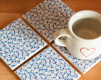 Ceramic coasters – white and red floral pattern with blue dots tile coasters – set of 4