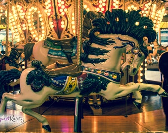 Carousel Horse - antique merry-go-round carnival festival boardwalk ride vintage photograph photography