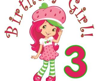Strawberry shortcake Personalized Birthday Party T Shirt Tee Boys Girls 1st 2 3 4 5 6 7 8 9
