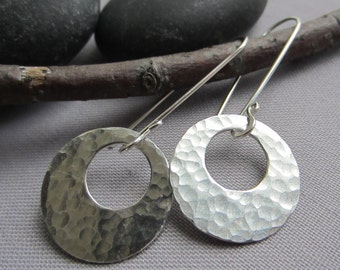 SALE 20% OFF/ Silver Hammered Earrings/ Silver Hoops/ Texturized Earrings/ Metalsmith Earrings.