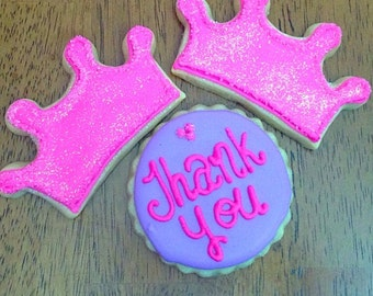 Princess, Thank You Cookies, Birthday Party, Favors