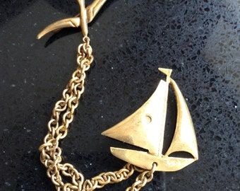 Vintage Brooch, Sailing Boat with Bird on Chain
