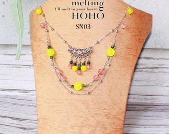 Bohemia Yellow & Pink Beaded Silver Necklace