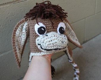 Adorable Handmade Crocheted Donkey Hat - custom made to order